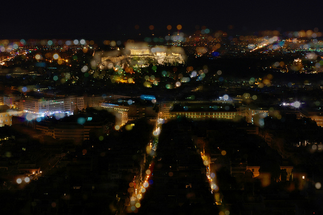 Blurring Athens at Night, photo by Flickr user alexcoitus
